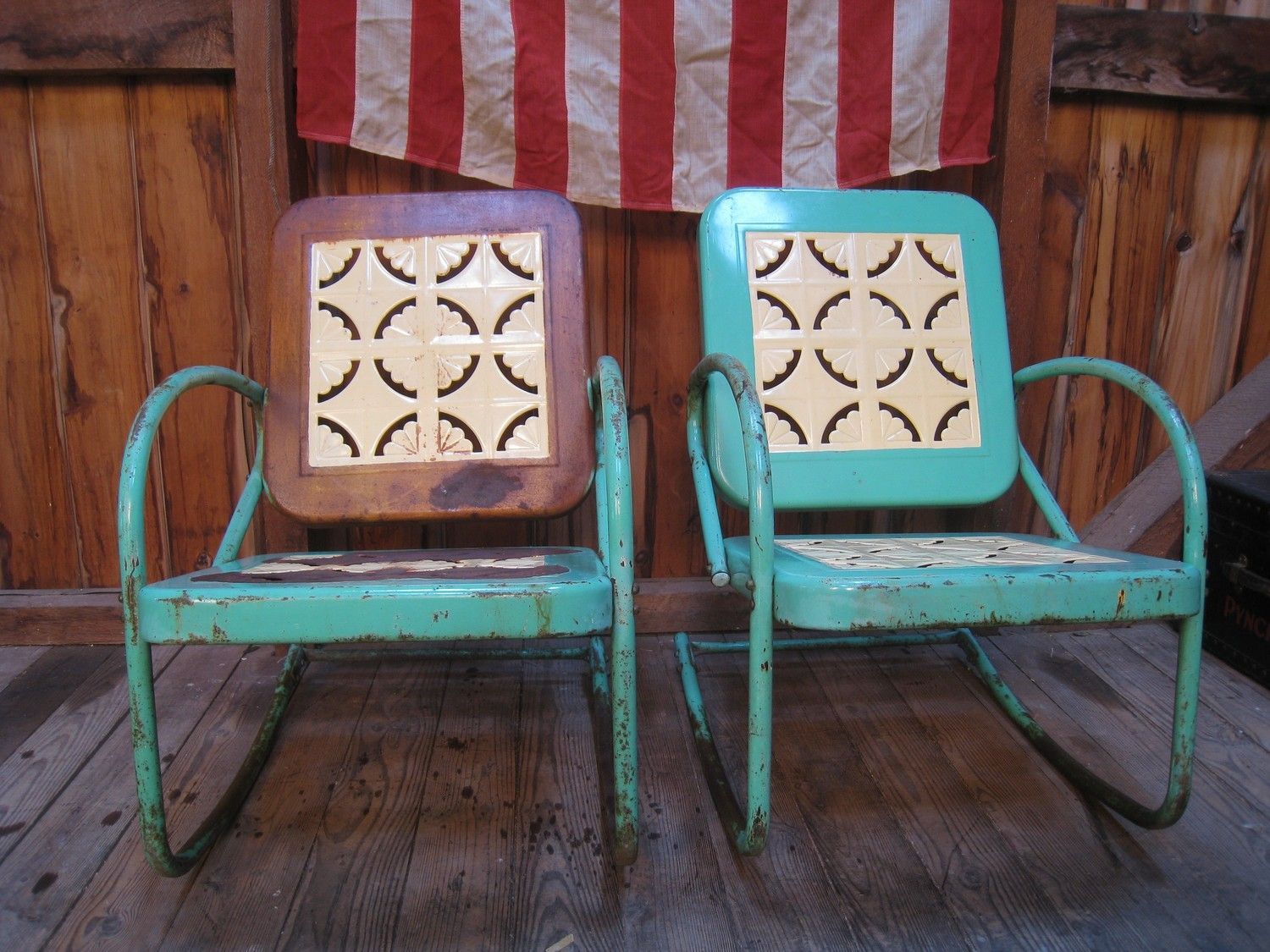retro metal patio chairs how to make a chair cover from sheet vintage 1950s lawn porch glider
