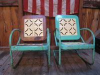 Vintage 1950s Metal Lawn Porch Glider Patio Chairs | Metal ...