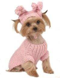 MAX'S CLOSET PET DOG CLOTHING PINK CABLE SWEATER w/ HAT