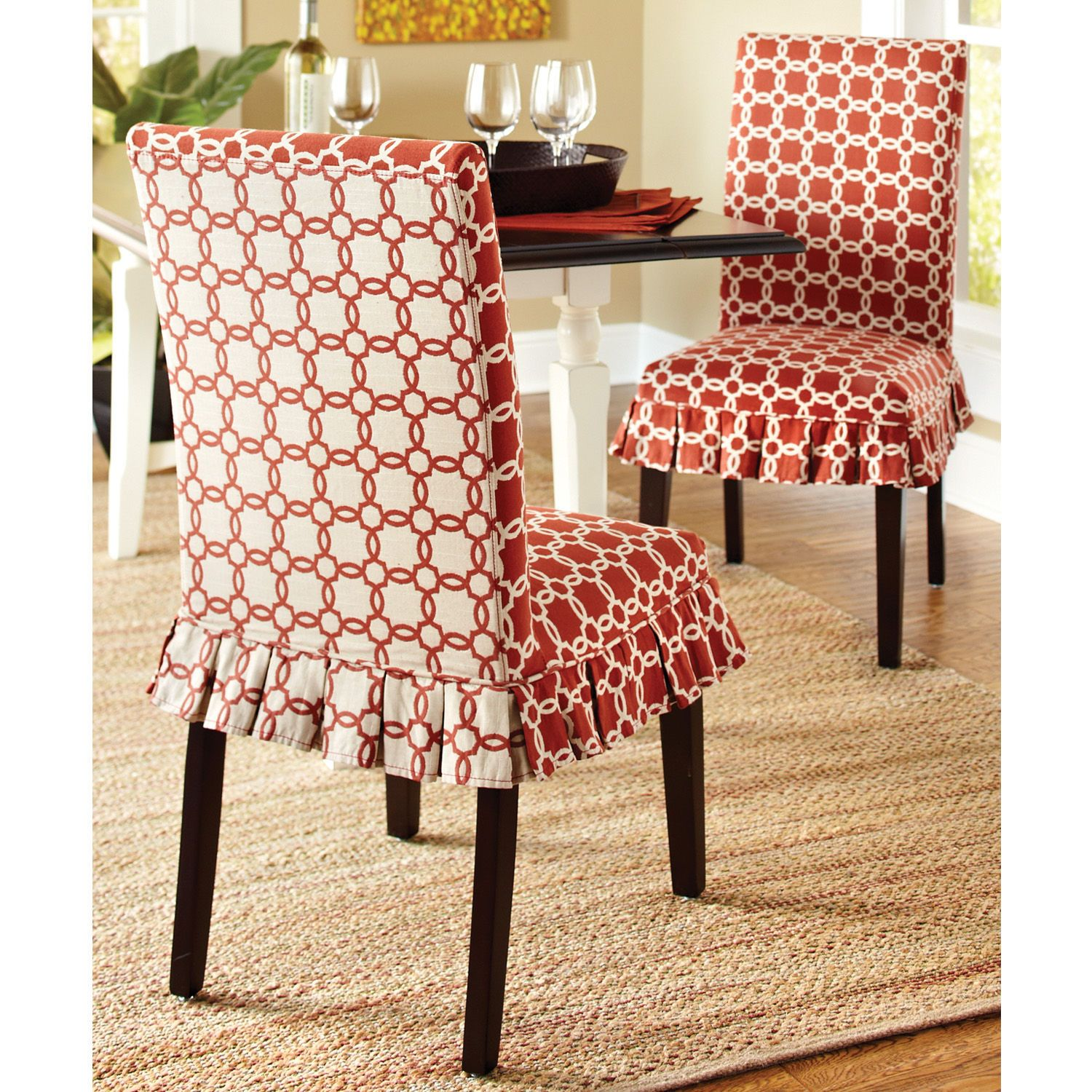 dining room chair leg covers simply elegant and linens how fun are these slipcovers from pier 1 chairs