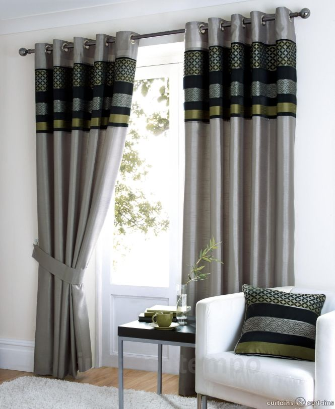 Saturn Black Silver Green Luxury Eyelet Curtain Grey Limes And Lime Bedroom