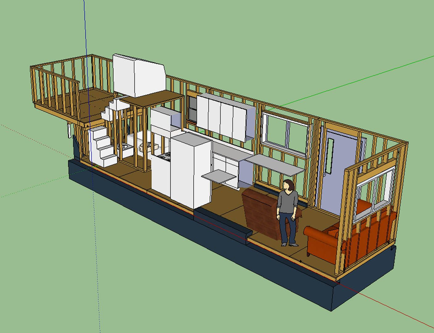 Tiny House Layout has master bedroom over fifth