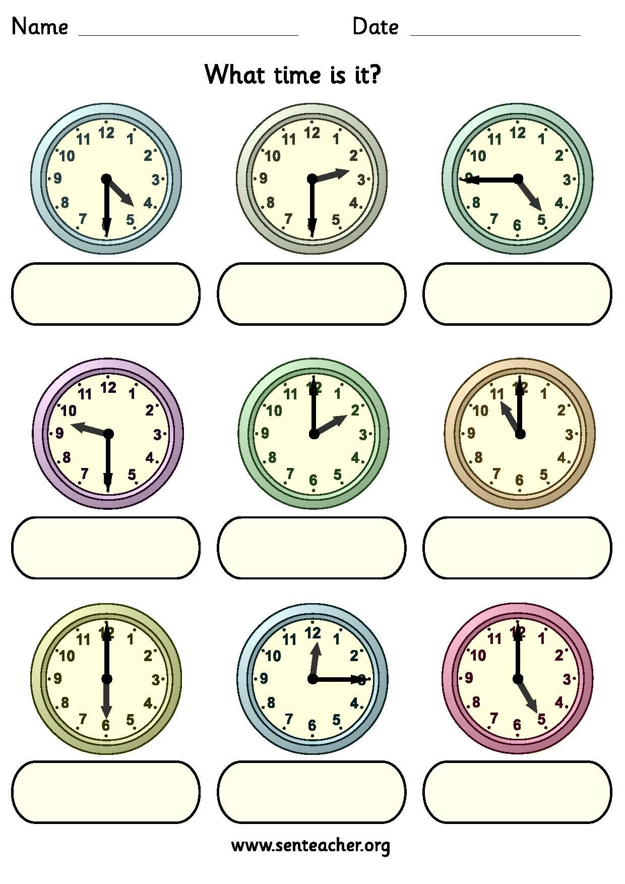 Worksheet Containing 9ogue Clocks Showing O Clock