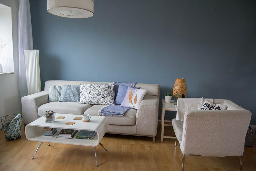 Wohnzimmer Farbe Blau Grau