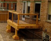 Wood Balcony Railings | Gallery of a small cedar deck with ...