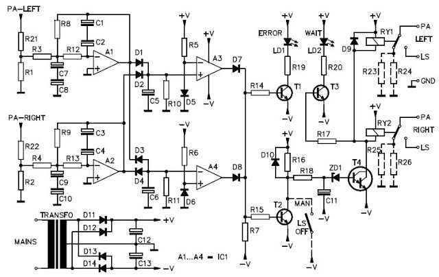 This is the stereo speaker protection circuit, provides