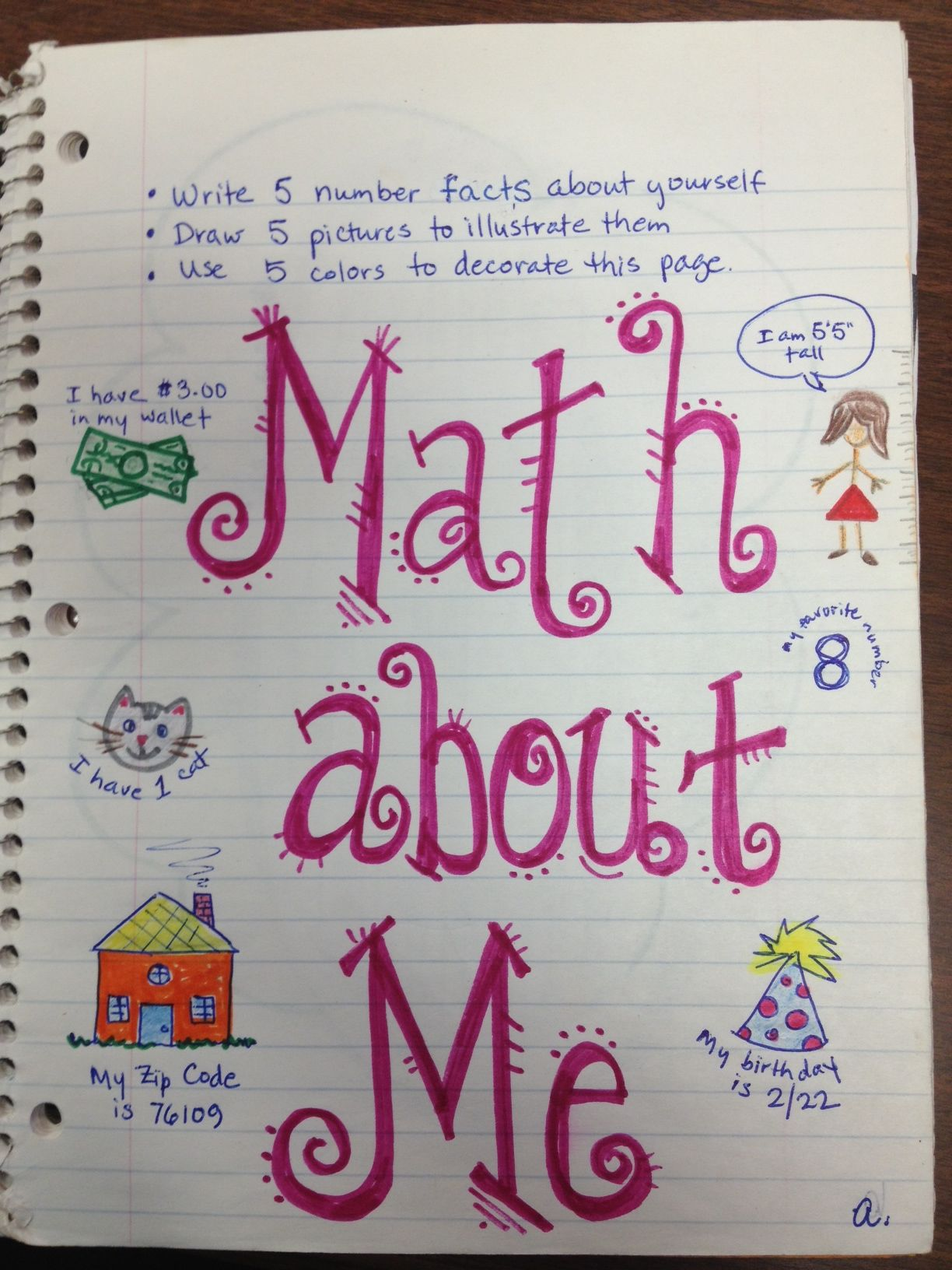 Math About Me First Page Of Interactive Notebooks Done The First Week Of School Fun And