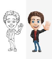 cartoon character with curly hair
