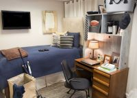 Guy's simple yet functional dorm room - blue bed spread ...
