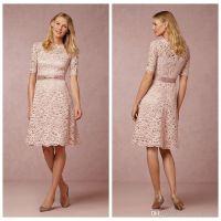 Blush Pink Lace Bridesmaid Dresses Short Half Sleeves Crew ...