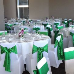 Wedding Chair Covers Melbourne Folding Turns Into Bed White Lycra With Emerald Green Satin Sashes