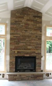 high ceilings with stone fireplace | mantle ideas ...