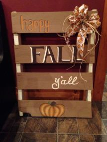 Happy Fall ' Painted Pumpkin Wood Pallet Sign
