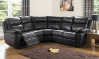 Houston Black Leather Corner Sofas | Leather reclining sofa