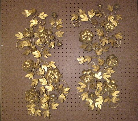 1 Pair Vintage Mid Century Gold Metal Floral Wall Art
