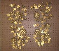 1 Pair Vintage Mid Century Gold Metal Floral Wall Art