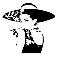 Vintage audrey hepburn stencil craft,fabric,glass ...