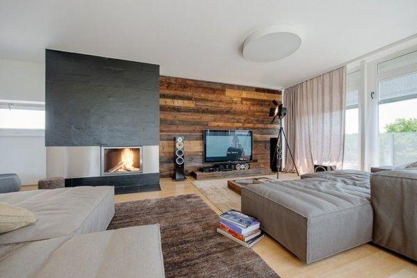 Wohnzimmer Holz Kamin - Boisholz Holzbalken Wohnzimmer Modern