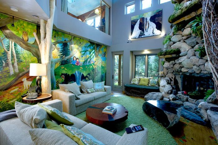 Colorful Jungle Wall Murals In Jungle Themed Living Room Design