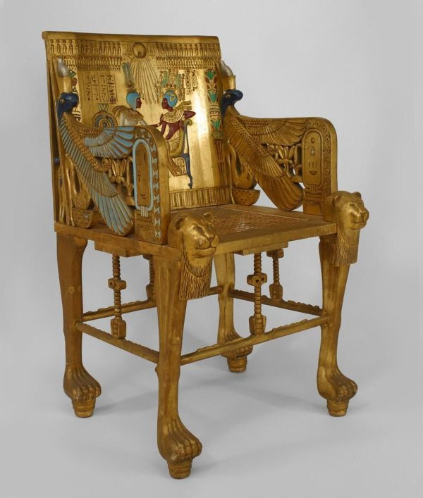Middle Eastern Egyptian Seating Chair Throne Gilt