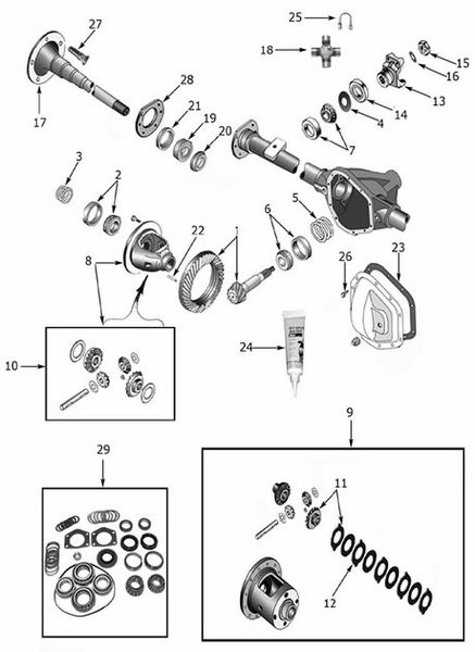 Rear Axle Dana 44 (Flanged Axles) 1970-75 CJ, 1986 CJ7