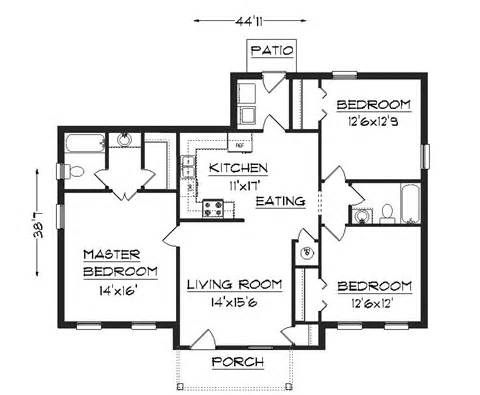 Best 3 Bedroom Floor Plan Simple House Plans 480×395 Small