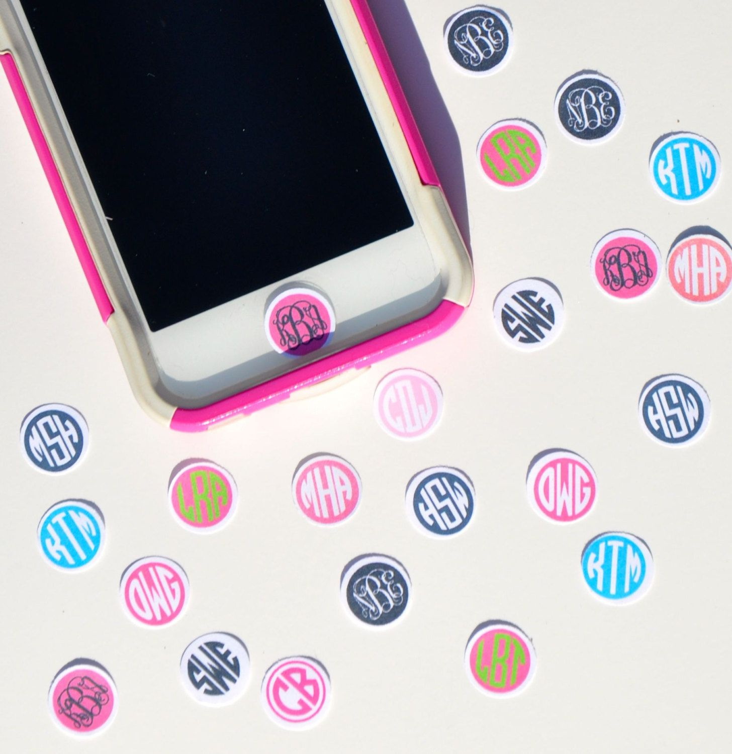monogrammed home button sticker