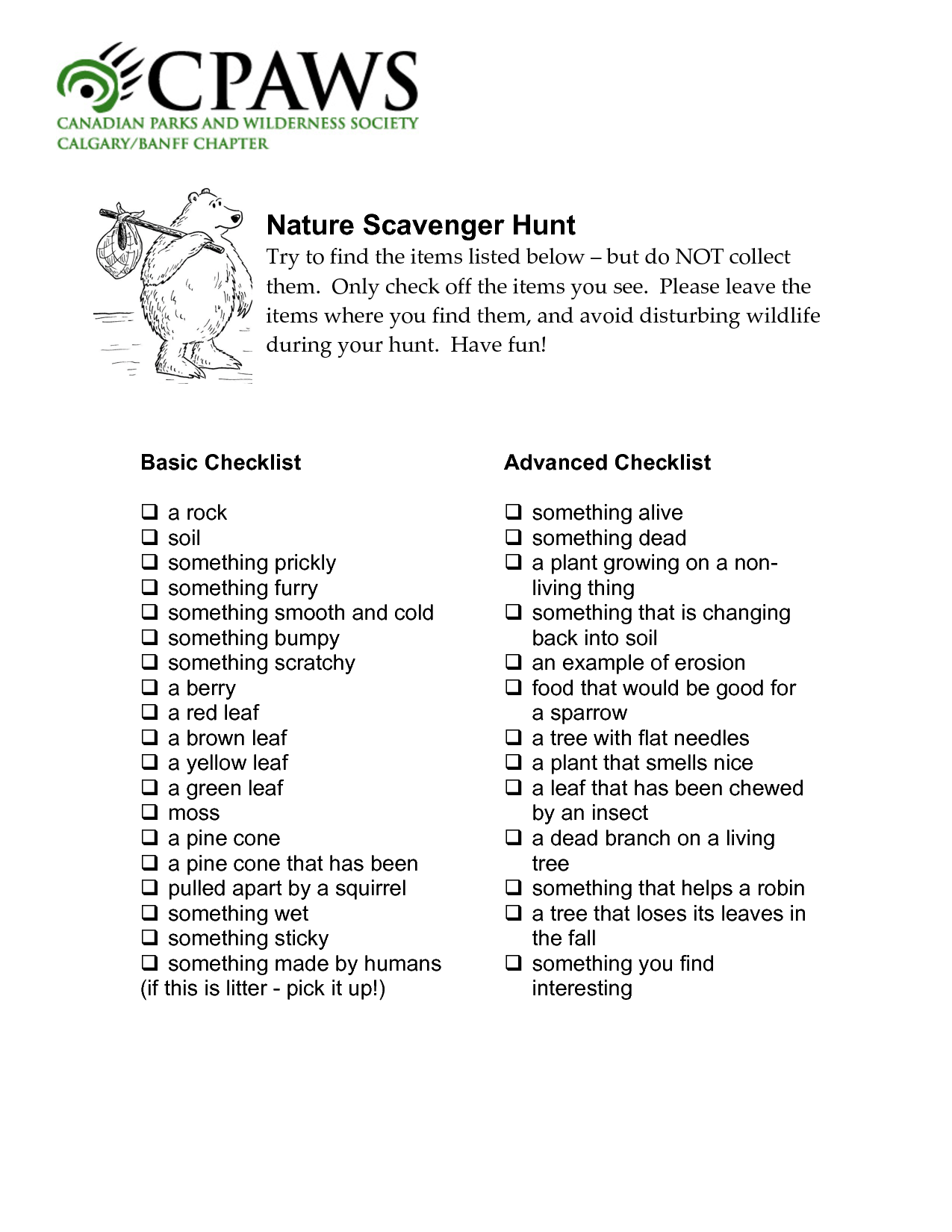 Nature Scavenger Hunt