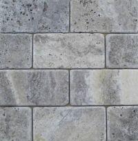 Travertine Machiatto/Silver Tumbled 3x6 Subway Tile ...