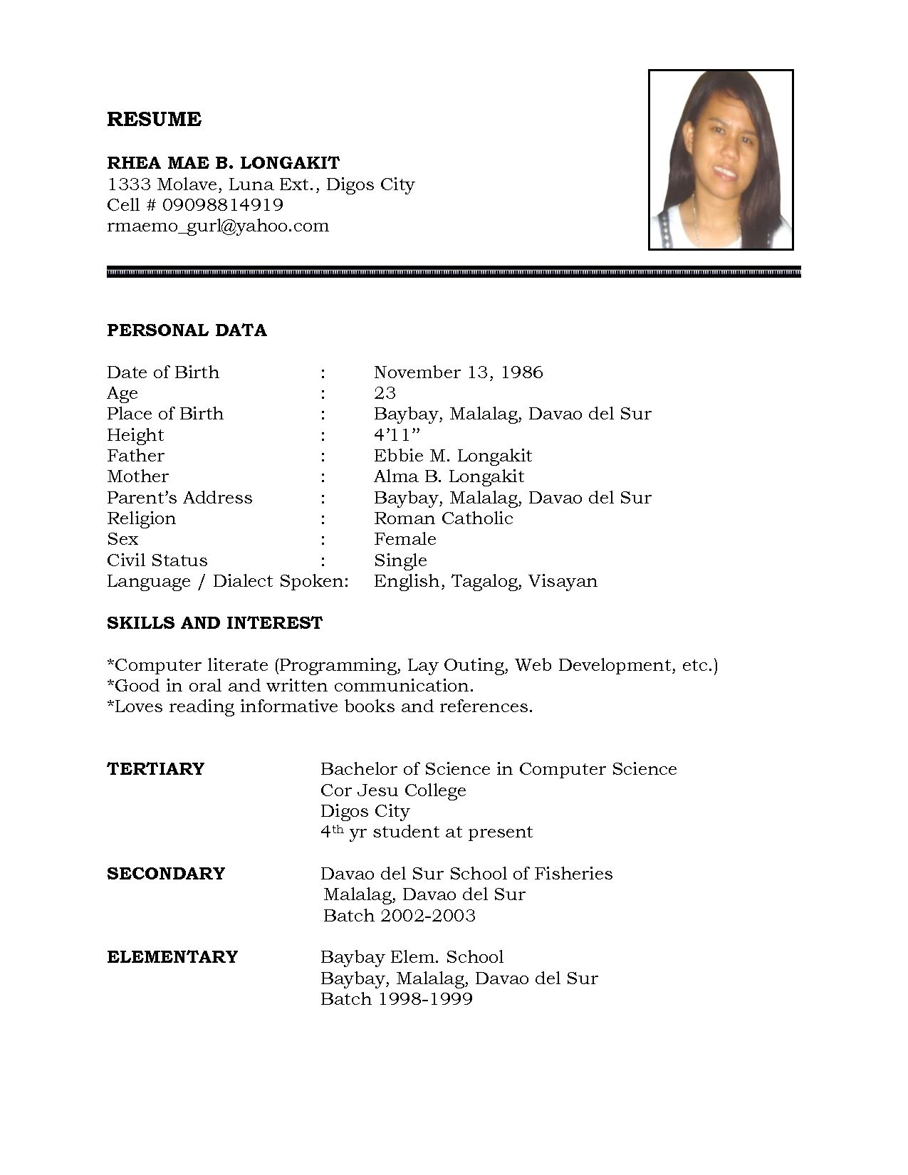 Format For A Resume For A Job Resume Sample Simple De9e2a60f The Simple Format Of Resume