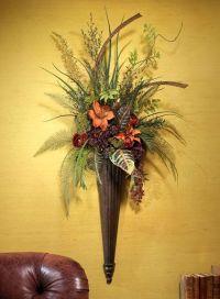 fall silk floral arangements | Silk Autumn Wall Sconce ...