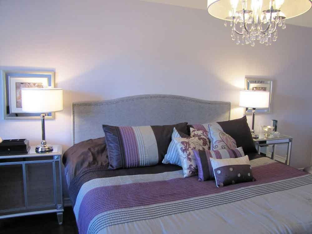 Black Grey And Purple Bedroom