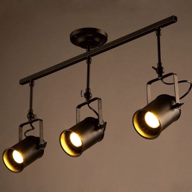 Modern Toggery American Track Led Chandelier Creative Pipe Painted Metal Spotlight For Bar Restaurant