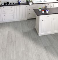 Silver gray travertine look porcelain tile, it matches a ...