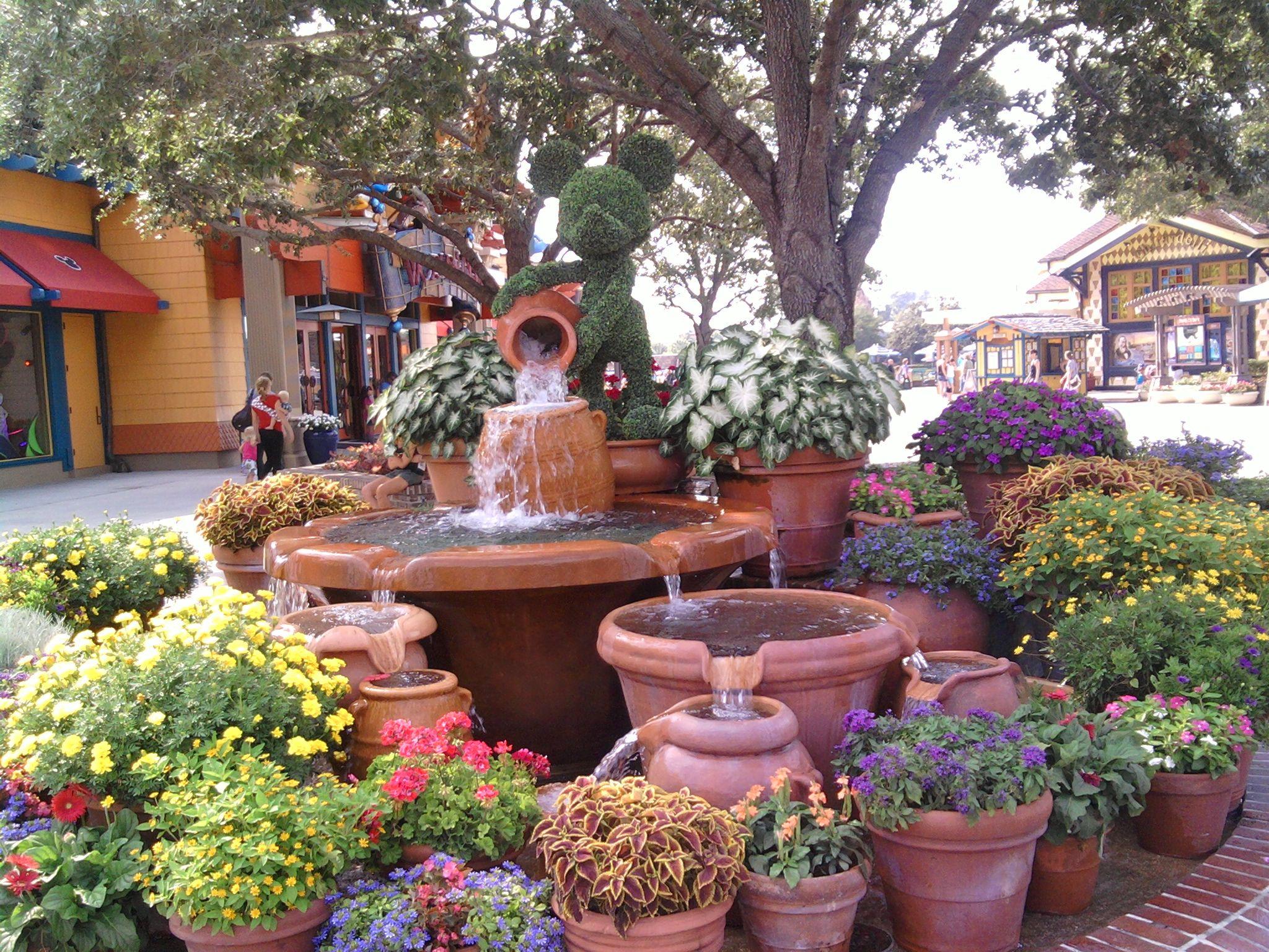 Downtown Disney Container Garden Ideas With Fountain Florida