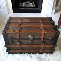 RESERVED FOR ERIC Large Antique Steamer Trunk Coffee Table ...