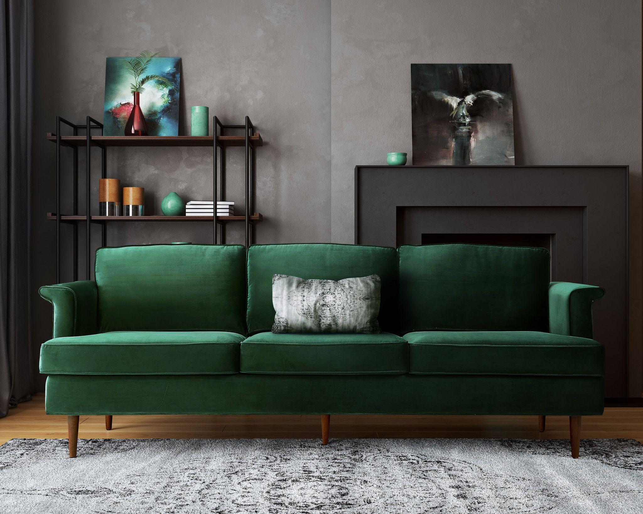 sofasandmore creative design sofa warrington porter forest green foam cushions mid century