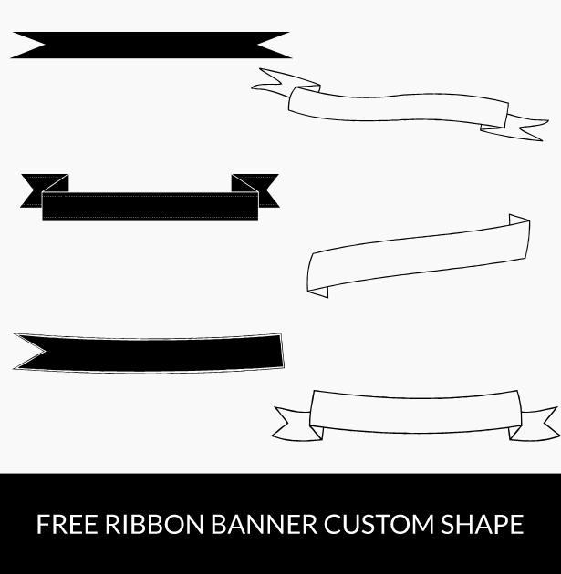 Free download: Ribbon banner custom shapes. #photoshop