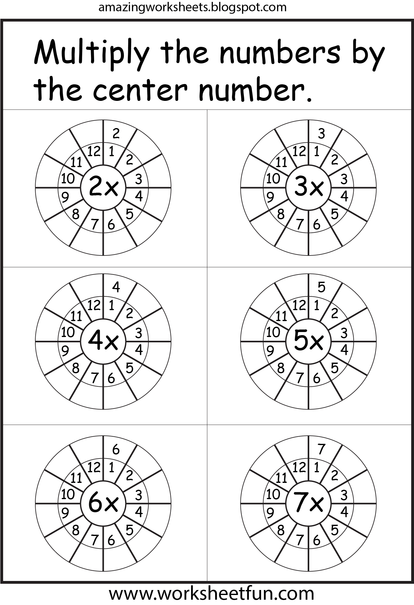 Multiplication Worksheets I Really Like This One With The Multiplication Circle For Each Number