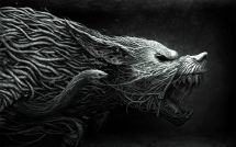 Creature Fantasy Wolf With Snake Wallpaper Digital