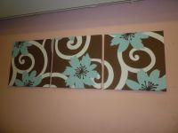 Fabric Wall Art Dark Brown Aqua Funky Retro Designer ...