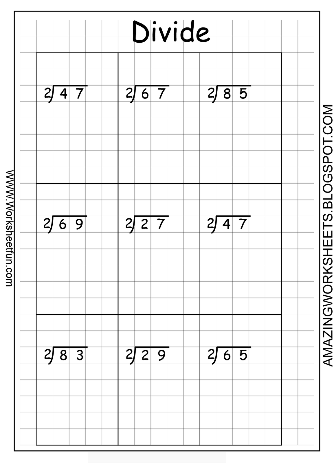 Printable Long Division Questions On Graph Paper