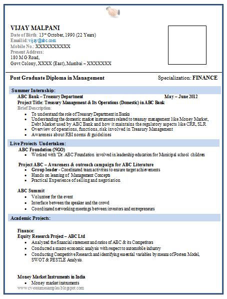 Mba Freshers Resume Format Mba Resume Format Mba Resume Format