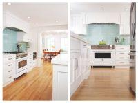 White kitchen with aqua backsplash tiles and upgraded ...