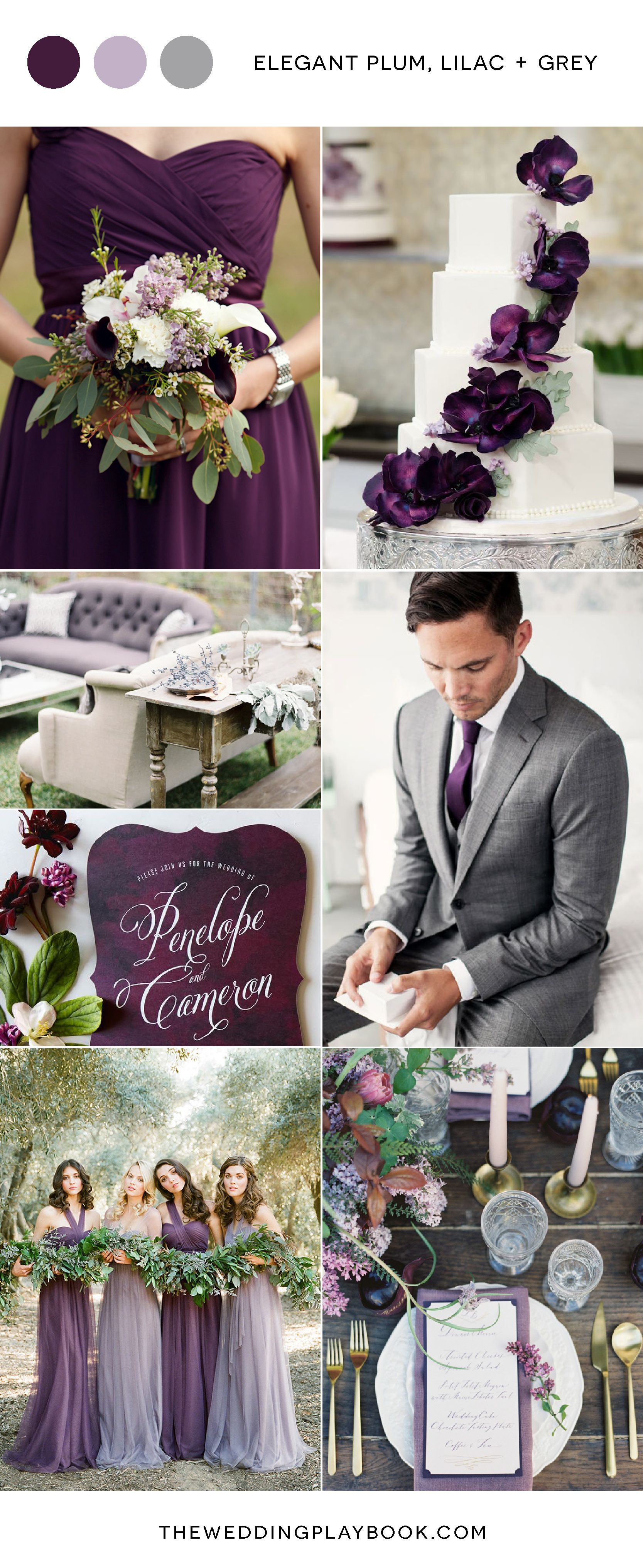 Plum Lilac and Grey Wedding Inspiration  Grey weddings