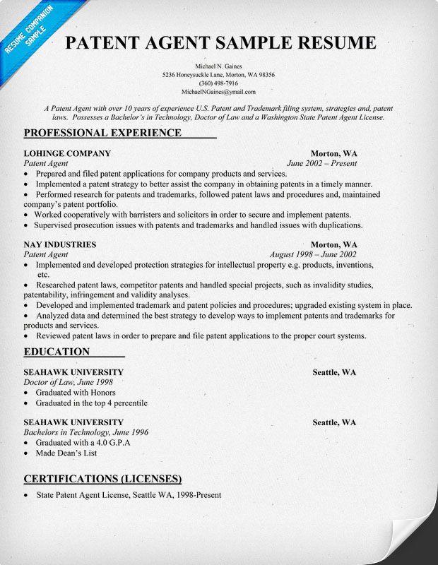 Patent Agent Resume Sample resumecompanioncom  Resume