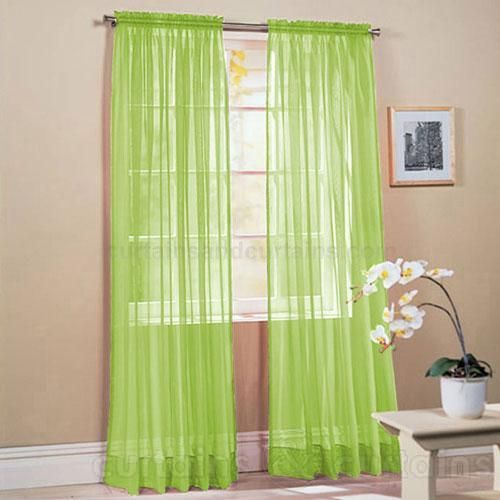 Slot Top Lime Green Voile Net Curtain Panel Green Bedrooms And