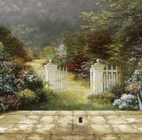 Beautiful Garden Wall Murals Painting | Outdoor murals ...