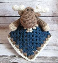 Crochet Moose Lovey Security Blanket, Baby Boy Moose ...