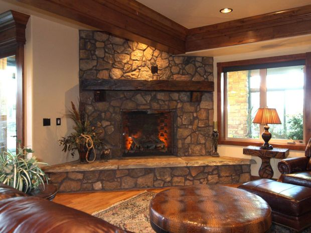 With Stone Corner Fireplace